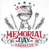 Memorial Day greeting card barbecue invitation. Memorial Day barbecue holiday greeting card. Hand-lettering cookout BBQ party invitation. Sketch of barbecue royalty free illustration