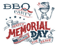 Memorial Day greeting card barbecue invitation. Memorial Day barbecue party greeting card. Hand lettering cookout BBQ party invitation. Sketch of barbecue vector illustration