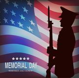 Memorial day. Greeting card with flag and soldier on background. royalty free illustration