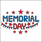 Memorial day greeting card with red star. On the white background.  Can be used to design for T-shirt, card, poster, invitation. Vector colored illustration Stock Images