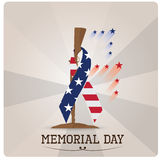 Memorial day. Grey background with text, a rifle and a symbol peace with the american flag for memorial day Royalty Free Stock Image