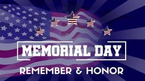 Memorial Day heureux avec l'animation de drapeau banque de vidéos