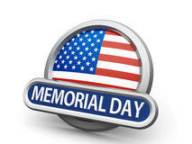 Memorial Day icon. Emblem, icon or button with american flag represents Memorial Day, isolated on white background, three-dimensional rendering, 3D illustration Stock Image