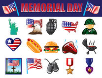Memorial Day Icons Stock Photo