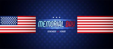 Memorial day illustration with american flag. Vector background Royalty Free Stock Images