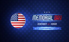 Memorial day illustration with american flag. Vector background Stock Photography