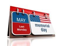 Memorial Day -Kalender Stockfotografie