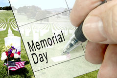 Memorial Day, Kalender-Anmerkung Lizenzfreies Stockbild