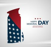 Memorial Day label with the monument. Honoring all who served slogan. USA flag as background Royalty Free Stock Images