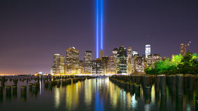 Memorial day manhattan night towers of light 4k time lapse from 11 of september