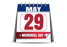 Memorial Day 2017. 29 May. Desk calendar. Memorial Day 2017. Calendar with the date of 29 May. Last Monday in May. Desktop calendar isolated on white background Stock Images