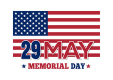 Memorial Day 2017. 29 May. Memorial Day 2017. Inscription on the background of the US flag. Vector illustration isolated on white background Royalty Free Stock Photos