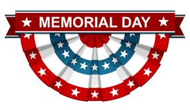 Memorial Day. On bunting american flag isolated with white background