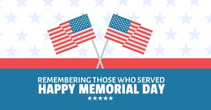 Memorial day message with crossed american flags and red white and blue stars and stripes background. Digital composite of memorial day message with crossed Royalty Free Stock Image
