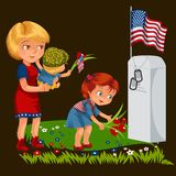 Memorial Day, mother with child cemetery, little girl lays flowers on grave war veteran, family Wife with children. Honoring memory fallen heroes, military Royalty Free Stock Photo