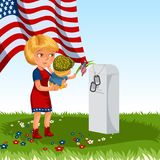Memorial Day, mother with child cemetery, little girl lays flowers on grave war veteran, family Wife with children. Honoring memory fallen heroes, military Stock Images