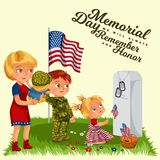 Memorial Day, mother with child cemetery, little girl lays flowers on grave war veteran, family Wife with children. Honoring memory fallen heroes, military Stock Photo