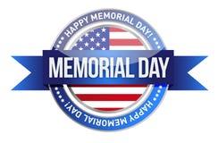 Memorial Day. nós selo e bandeira Imagens de Stock Royalty Free