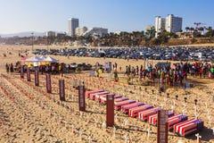 Memorial Day på den Santa Monica stranden Arkivfoton