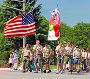 Memorial Day Parade. Boy Scouts marching in Memorial Day parade in Livingston, NJ Stock Image