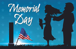 Memorial Day Postcard with People Paying Respect, Vector Illustration Royalty Free Stock Photos