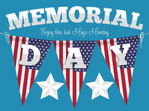 Memorial Day Poster with Festive Buntings, Vector Illustration. Poster with festive American buntings hanged for Memorial Day celebration Stock Photography