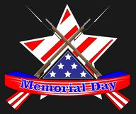 Memorial Day poster. Patriotic holiday banner with flag, veteran attributes like military and war signs and ammunition. USA. National traditional event card stock illustration