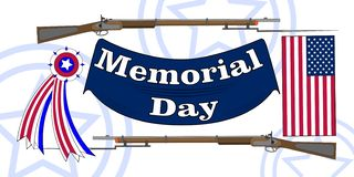 Memorial Day poster. Patriotic holiday banner with flag, veteran attributes like military and war signs and ammunition. USA. National traditional event card royalty free illustration