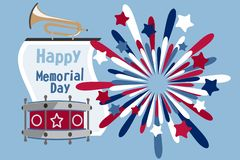 Memorial Day poster. Patriotic holiday banner with flags, fireworks in American traditional colors. USA national event card print. royalty free illustration