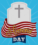 Memorial Day Poster with Tombstone and Flag, Vector Illustration Royalty Free Stock Photos