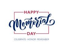 Memorial Day Recuerde y honre Letras exhaustas del texto de la mano del ejemplo del vector con las estrellas para el Día de los c libre illustration