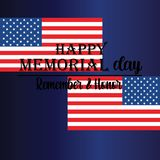 Memorial Day - Remember and honor with USA flag, Vector illustration. - Vector stock illustration