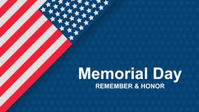 Memorial Day - Remember and honor with USA flag, Vector illustration. Celebration banner template with american flag decor. Holiday poster template stock illustration