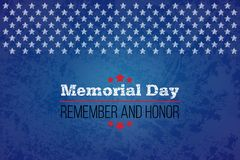 Memorial day. Remember and honor. Vector llustration for American holiday. Design template for poster, banner, flayer. Greeting, invitation card, web Stock Images