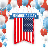 Memorial Day Ribbon US Flag Balloons. Memorial Day ribbon with US flag and balloons Royalty Free Illustration