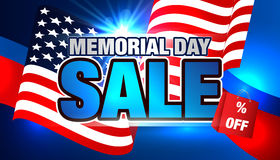Memorial Day Sale. Memorial Day Banner with American Flag. Sale Card Design Royalty Free Stock Photo