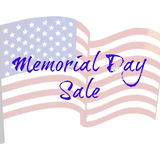 Memorial Day Sale. Banner with US flag as the backdrop Stock Image