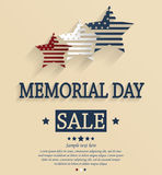 Memorial Day sale card. Red, white and blue stars Stock Photos