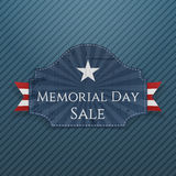 Memorial Day Sale greeting Poster and Ribbon Stock Photos