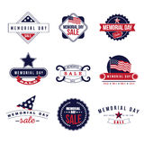 Memorial Day Sale icons and badges EPS 10 vector Royalty Free Stock Photo