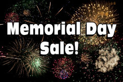 Memorial Day Sale med fyrverkeri Fotografering för Bildbyråer