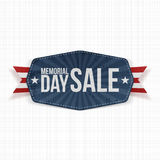 Memorial Day Sale national Label with Ribbon Royalty Free Stock Photography