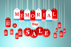 Memorial Day and Sale tag hanging in store for promotion Royalty Free Stock Photos
