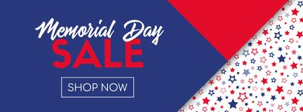 Memorial day sale vector banner template. Memorial day sale vector banner. Online shopping template Royalty Free Stock Images