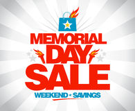 Memorial day sale weekend savings poster. Stock Photography