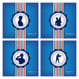 Memorial Day. Set of backgrounds with banners and different silhouettes of soldiers Stock Photography