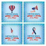 Memorial Day. Set of backgrounds with text and different objects for memorial day celebrations Stock Images