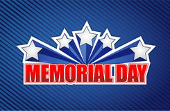 Memorial day sign on a blue. Lines background Royalty Free Stock Images