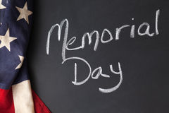 Memorial Day sign. On a chalkboard with vintage flag Stock Photos