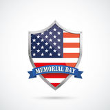 Memorial Day Silver Protection Shield US Flag. US-Flag protection shield for Memorial Day on the white background Stock Photos